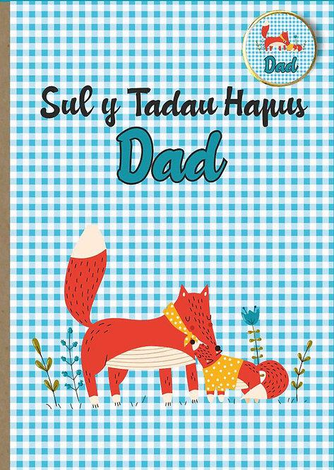 Carden (cadno) Sul y Tadau 'Dad' gyda bathodyn.