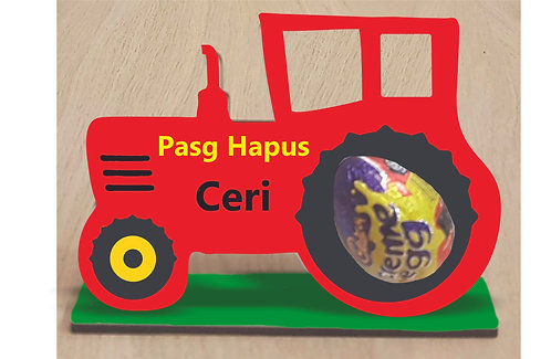 Daliwr wy Pasg tractor/ Tractor Easter egg holder