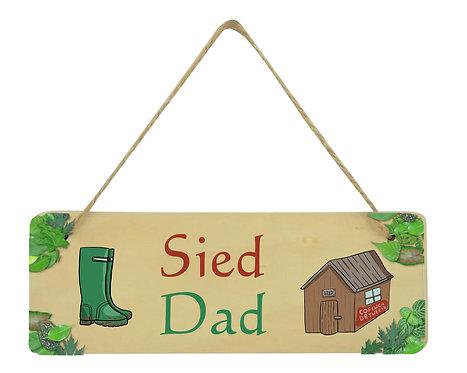 Arwydd pren crog Sied Dad/Taid/Tad-cu