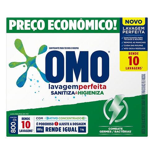 Lava Roupas em Pó Omo 800g Lavagem Perfeita Sanitiza & Higieniza