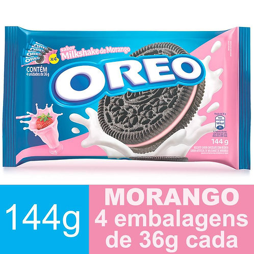 Biscoito OREO Chocolate Com Recheio Milkshake de Morango 144g