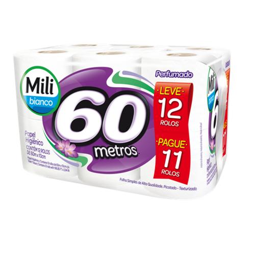 Papel Higiênico Folha Simples Bianco Perfumado Mili Leve 12 Pague 11 rolos