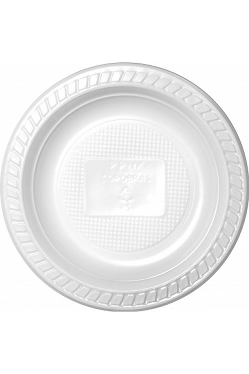 Prato de Plástico Descartável Branco 18cm Raso com 10 Unidades