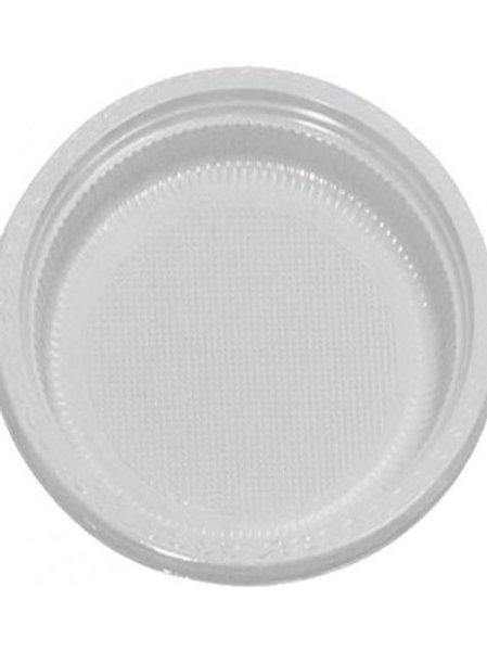 Prato de Plástico Descartável Branco 18cm com 10 Unidades