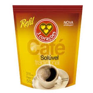 Café Solúvel 3 Corações Tradicional Sachê 50g