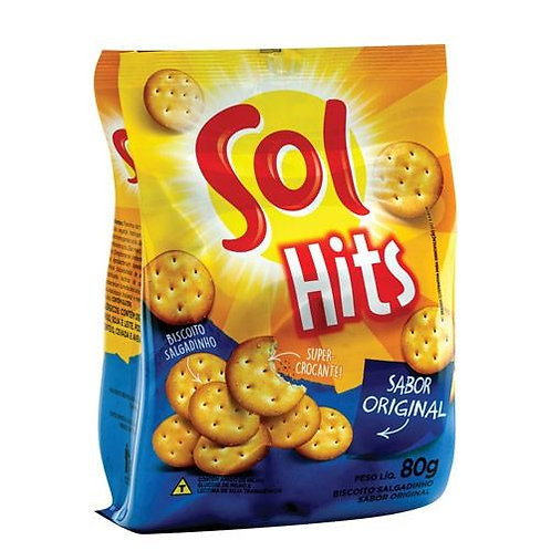Biscoito Salgadinho Hits Original Sol Pacote 80 g