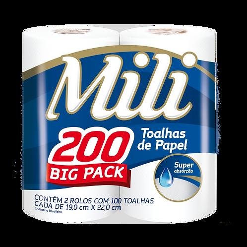 Toalhas de Papel Mili 200 BIG PACK- 2 rolos com 100 toalhas cada