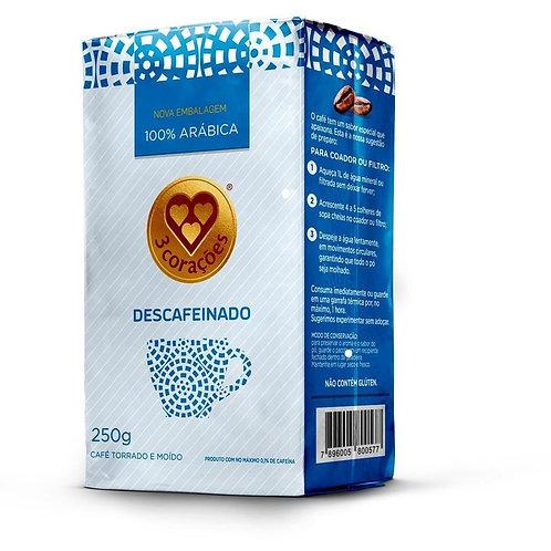 Café Torrado E Moído 3 Corações Descafeinado A Vácuo 250 G