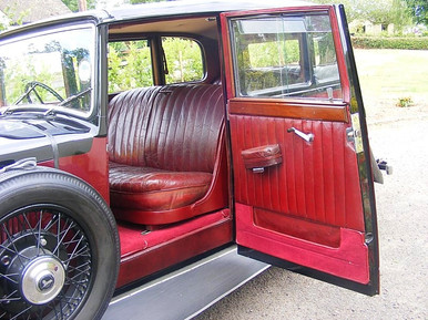 """1934 17hp with it's well appointed interior, note the forwards opening """"suicide doors""""."""