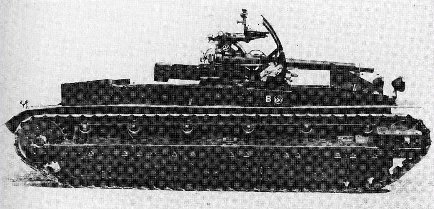 The Burch gun 1930, the forerunner of the WW2 self-propelled gun.  It features an 18 pounder field gun on a Vickers chassis with a 90hp V8 Armstrong Siddeley engine and Wilson pre-select gearbox. This is one of the second batch of four.