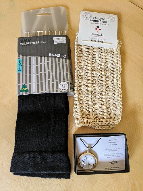 Gift Pack- Bamboo Socks, Pendant and Hemp Face/Body Cloth