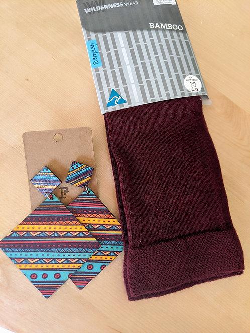 Gift Pack- Bamboo Socks And Wooden Earrings