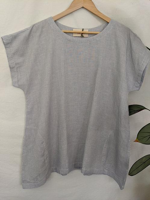 Felipe Linen Pocket Top Fine Stripe
