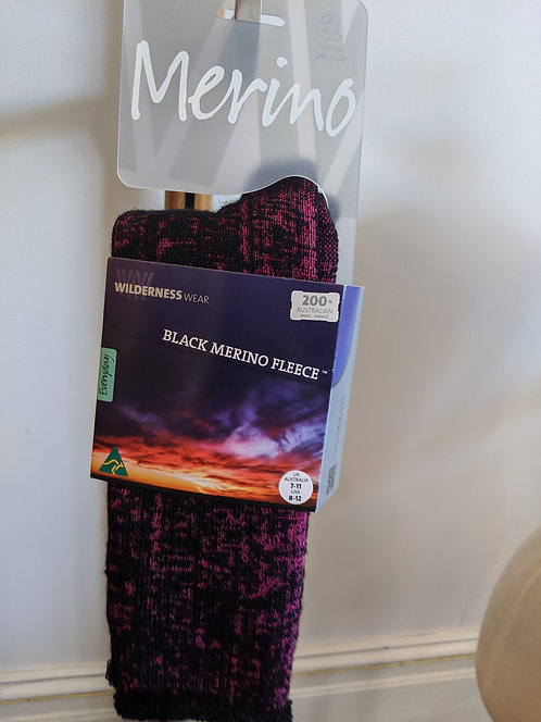 Merino Socks- Black/Pink