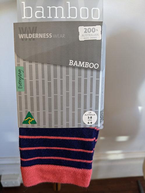 Bamboo Socks- Navy/Melon