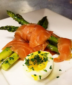 House cured salmon served with grilled & chilled asparagus.jpg
