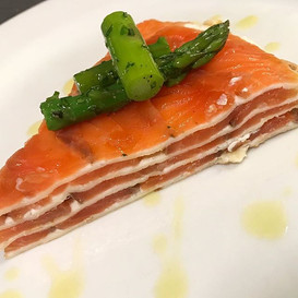 House-cured Salmon Crespelle with marinated asparagus #jaxpicassos