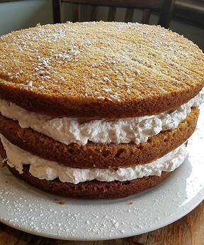 Mama Evans baked a new cake, Stacked Apple Sauce Cake with cinnamon whipped cream.jpg