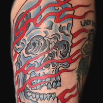 Scull and flames