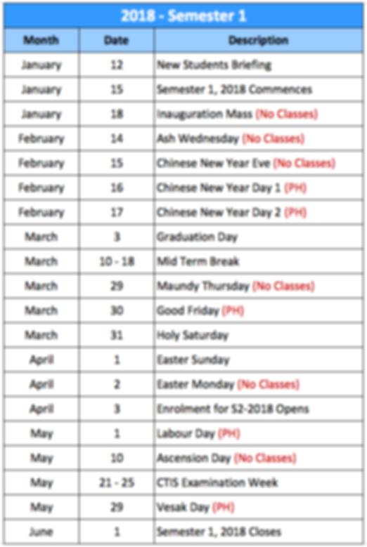 Academic Calendar - 2016 - Semester 2