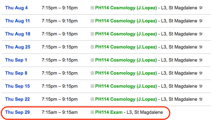 Schedule of Classes for PH114