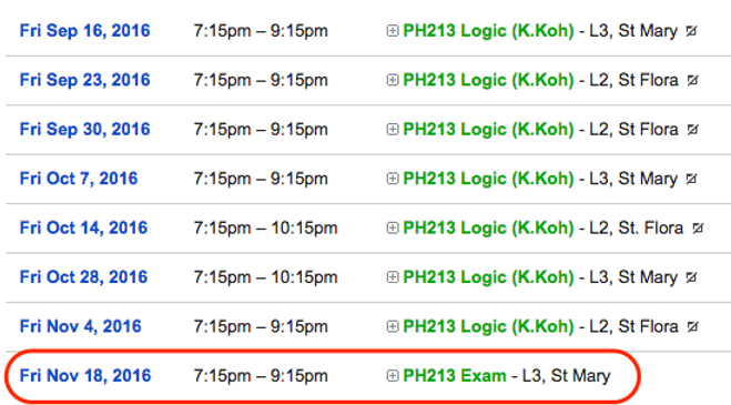 Schedule of Classes for PH213