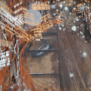 The river beneath the City,  Work on Paper, Mono print, Ink, Acrylic Paint