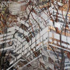 #5 Untitled - Series: View from the train Work on Paper - Mono print, Ink, Acrylic Paint