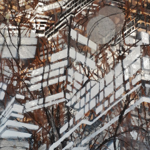 #3 Untitled - Series: View from the train, Work on Paper, Mono print, Ink, Acrylic Paint