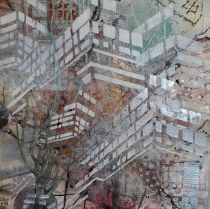 #6 Untitled - Series: View from the train, Work on Paper, Mono print, Ink, Acrylic Paint