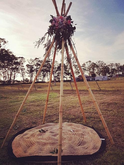 3 metre bamboo tepee & rug Set