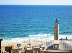 Blick auf Kirche+Strand