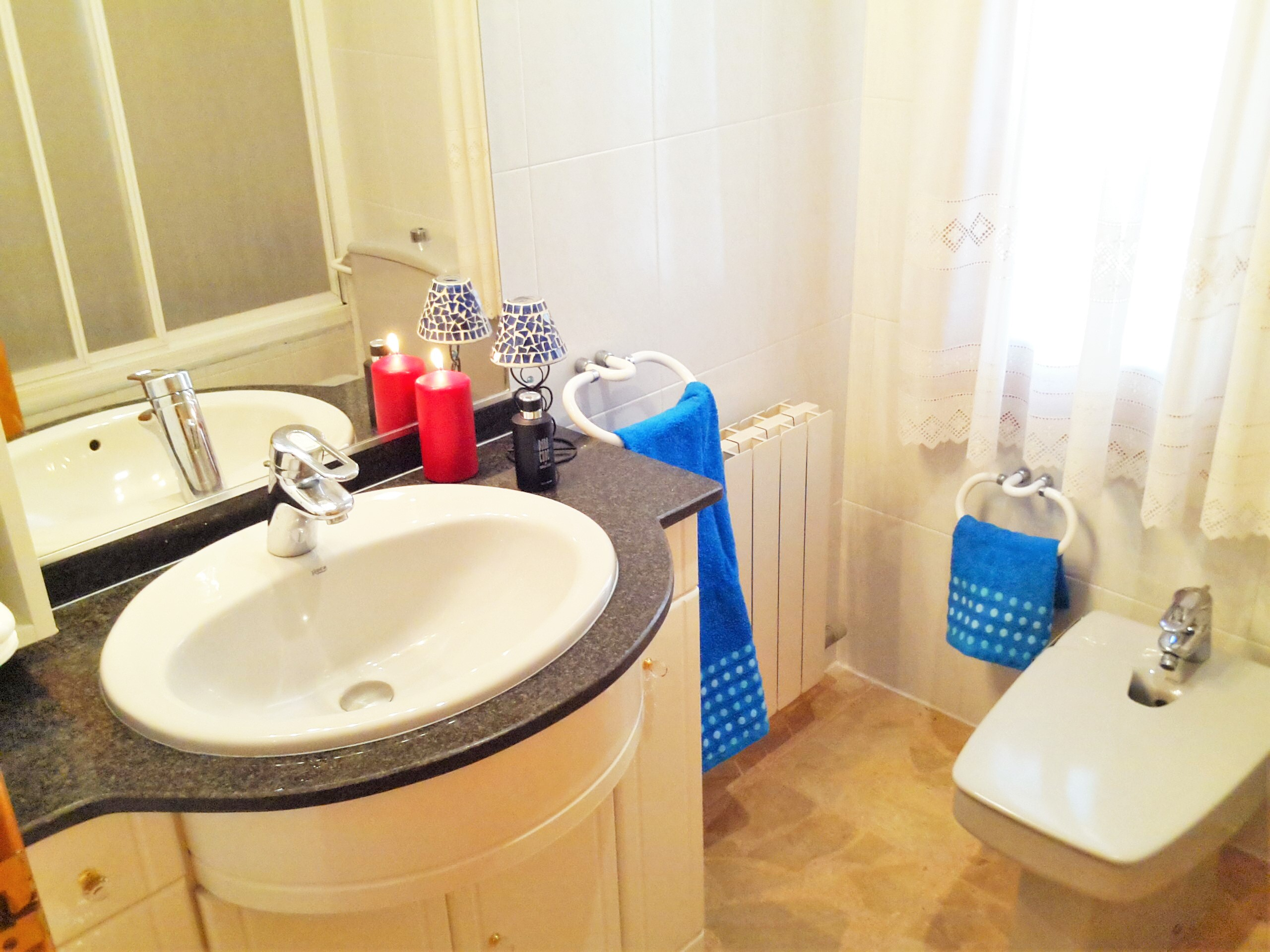 Bathroom I: bath-tube/shower, bidet