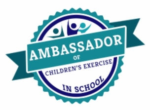 fun healthy kids exercise in school emblem
