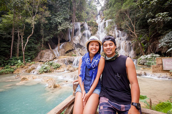 Visiting Kung Si Waterfalls in Luang Prabang, Laos.