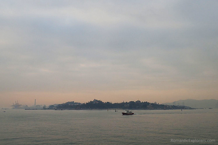 Romantic sunset view of Gulangyu Island in Xiamen.