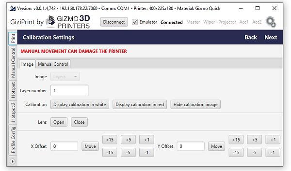 GiziPrint calibration screen