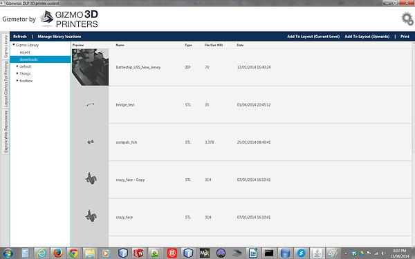 Gizmetor software Library Tab screenshot