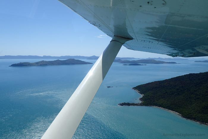View of Whitsunday Islands from our romantic scenic flight