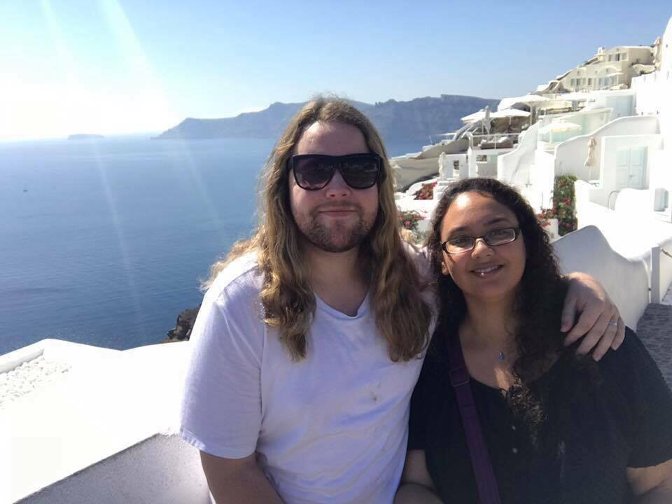 Anne and Jaylan in Santorini - one of the best honeymoon spots!