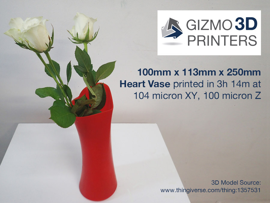 Heart Vase 3D print that was printed on a Gizmo 3D printer
