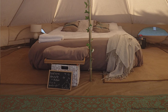 Our tent that was set up by Phillip Island Glamping was filled with intricate details.