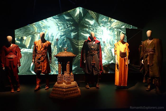 The actual costumes from the Marvel Movie Doctor Strange on display at QAGOMA