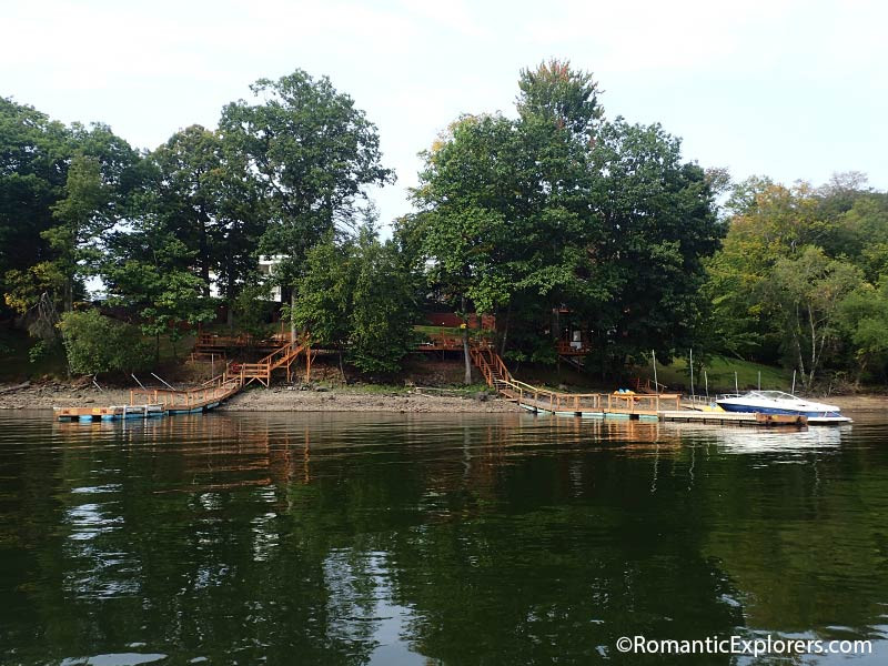 The view of the pier from the romantic boat ride on the lake
