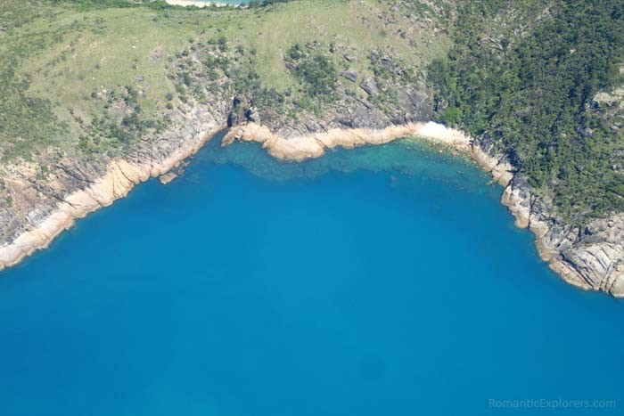 View from our romantic, scenic flight over the Whitsunday Islands.