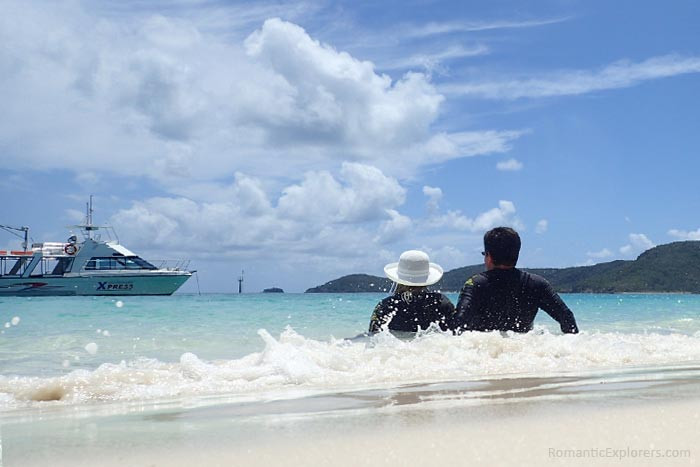 Wearing full body stinger suits while playing in the water of whitehaven beach is highly recommended!