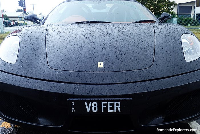 Ferrari driving on a rainy day!