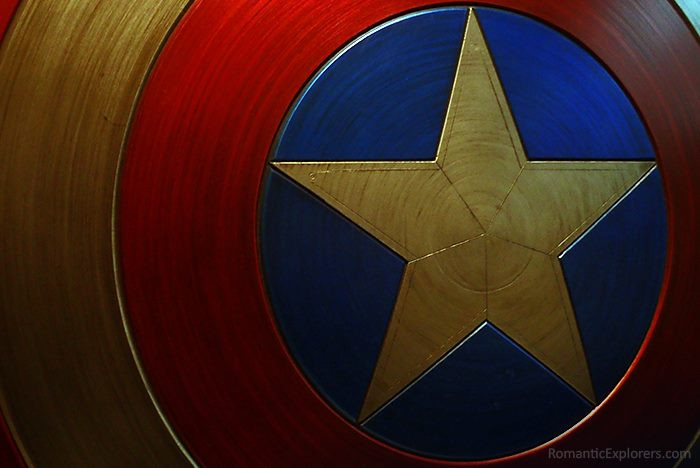 Closeup of Captain America's Shield showing the details that we had the privilege of seeing during our date.