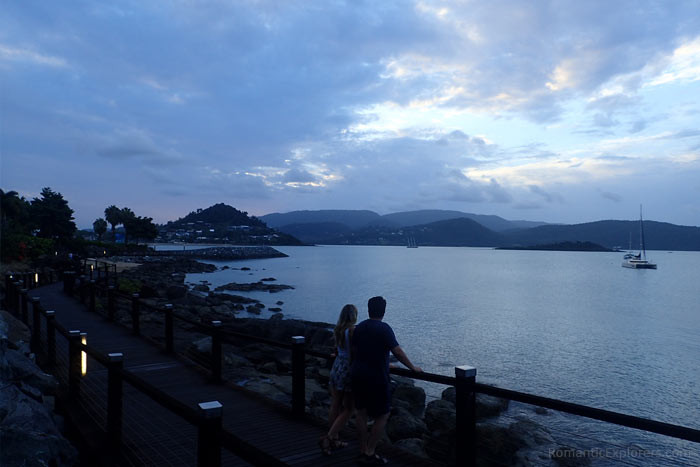 A great date night idea is to walk along the Airlie Beach to Cannonvale Boardwalk during sunset.