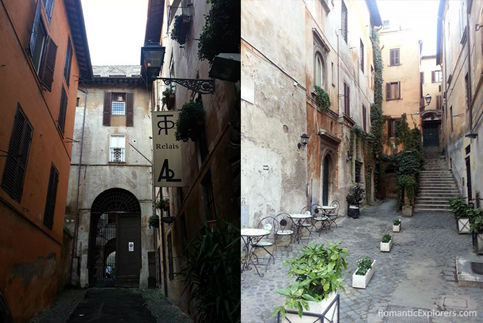Exploring the romantic streets of Rome around our budget hotel in Italy